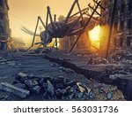 giant insects destroy the city. ... | Shutterstock . vector #563031736