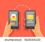 sending love message concept.... | Shutterstock .eps vector #563034220