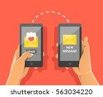 sending love message concept.... | Shutterstock .eps vector #563034220
