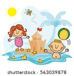 day at the beach kids collection | Shutterstock .eps vector #563039878