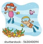 scuba kids collection | Shutterstock .eps vector #563040094