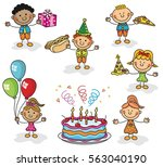 birthday kids collection | Shutterstock .eps vector #563040190