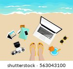 freelance work. desktop with... | Shutterstock .eps vector #563043100