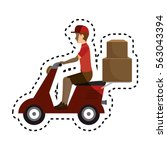 delivery motorcycle service icon | Shutterstock .eps vector #563043394