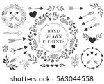 set of hand drawn arrows ... | Shutterstock .eps vector #563044558