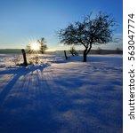 Winter Sunset  Wooden Fence An...