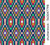 fabric pattern. tribal doodles... | Shutterstock .eps vector #563047798