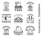 Amusement park set of vector vintage emblems, labels, badges and logos in monochrome style on white background. Amusement park, carnival, attraction design elements | Shutterstock vector #563048464