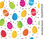 seamless pattern with easter... | Shutterstock .eps vector #563049529