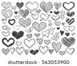Valentines day hearts doodles set. Romantic stickers collection. Hand drawn effect vector. Exercise book paper. Love theme simple sketches for web design or printed products.
