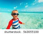 Happy Little Boy Swimming On...