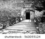 entrance wooden bridge and gate ... | Shutterstock . vector #563055124