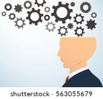 side businessman head with... | Shutterstock .eps vector #563055679