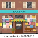 the window of a bookstore. flat ... | Shutterstock .eps vector #563060713