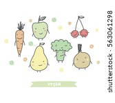 cartoon vegetables and fruits | Shutterstock .eps vector #563061298