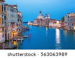canal grande with basilica... | Shutterstock . vector #563063989