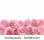 Stock photo bunch of pink roses on white background 563081224
