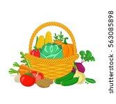 vegetables in a basket. healthy ... | Shutterstock .eps vector #563085898