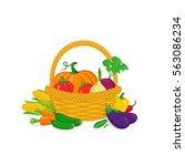 vegetables in a basket. healthy ... | Shutterstock .eps vector #563086234