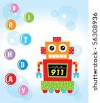 birthday robot greeting | Shutterstock .eps vector #56308936