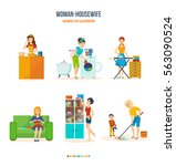young housewives  the kitchen... | Shutterstock .eps vector #563090524