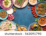 middle eastern or arabic dishes ... | Shutterstock . vector #563091790