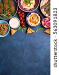 middle eastern or arabic dishes ... | Shutterstock . vector #563091823