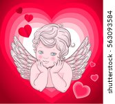 little angel with wings  cupid  ... | Shutterstock .eps vector #563093584