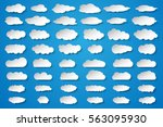 clouds vector big set. white... | Shutterstock .eps vector #563095930
