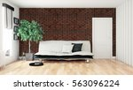 modern bright interior . 3d... | Shutterstock . vector #563096224