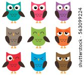 set of cute cartoon colorful... | Shutterstock . vector #563099224