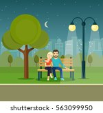 smiling romantic couple  on... | Shutterstock .eps vector #563099950