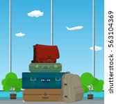 retro colored suitcases and bag ...   Shutterstock .eps vector #563104369