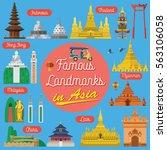 flat design  famous landmarks... | Shutterstock .eps vector #563106058