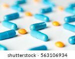 blue medical pills and capsules ... | Shutterstock . vector #563106934
