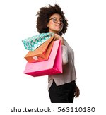 Black Woman Holding Shopping...