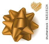 golden realistic gift bow from... | Shutterstock .eps vector #563115124