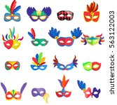 masquerade colorful masks set.... | Shutterstock .eps vector #563122003