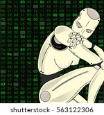 female robot  with its... | Shutterstock .eps vector #563122306