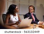 business colleagues listening... | Shutterstock . vector #563132449