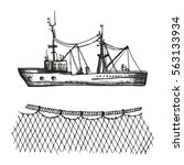 trawler and sketch. fishing... | Shutterstock .eps vector #563133934