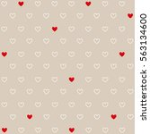 seamless red and white hearts ... | Shutterstock .eps vector #563134600