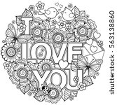 vector coloring page for adult. ... | Shutterstock .eps vector #563138860