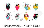 collection of men's hearts in... | Shutterstock .eps vector #563141530