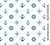 sea pattern with anchor and helm | Shutterstock .eps vector #563143630