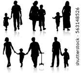 black silhouettes family on... | Shutterstock . vector #563148526