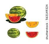 watermelon fruit fresh...   Shutterstock .eps vector #563149324