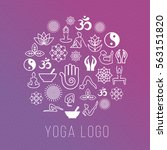 yoga symbols in round label... | Shutterstock .eps vector #563151820