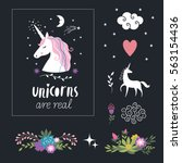 decor elements  unicorns ... | Shutterstock .eps vector #563154436