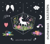 decor elements  unicorns ... | Shutterstock .eps vector #563155096